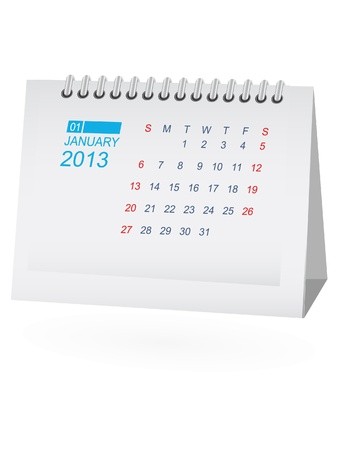 January 2013 Desk Calendar Vector