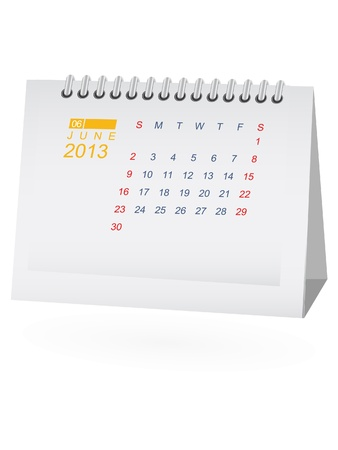 June 2013 Desk Calendar Stock Vector - 15292076