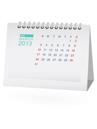 March 2013 Desk Calendar Stock Vector - 15292080