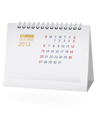 October 2013 Desk Calendar Stock Vector - 15292081