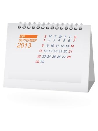 calendario da tavolo: Settembre 2013 Desk Calendar Vettoriali