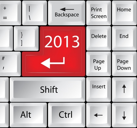 Computer Keyboard with 2013 Key Vector