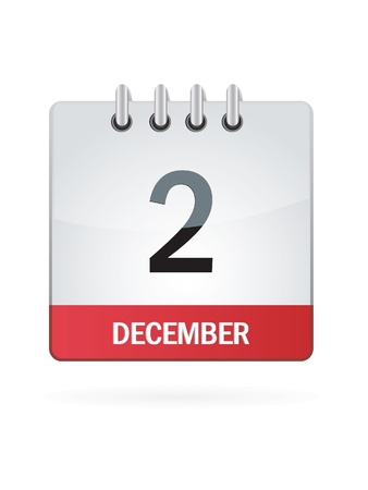 Second In December Calendar Icon On White Background