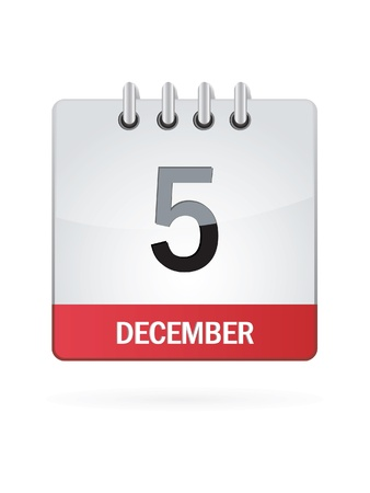 Fifth In December Calendar Icon On White Background