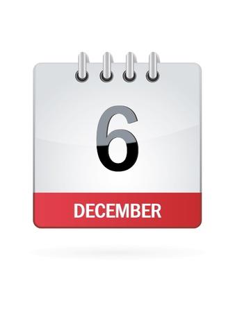 december calendar: Sesto Nel mese di dicembre Calendario Icona su sfondo bianco Vettoriali