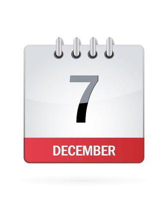 december calendar: Settimo A dicembre Calendario Icona su sfondo bianco Vettoriali