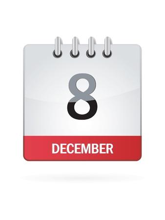 december calendar: Ottava Nel mese di dicembre Calendario Icona su sfondo bianco Vettoriali