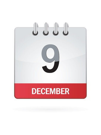 december: Ninth In December Calendar Icon On White Background Illustration