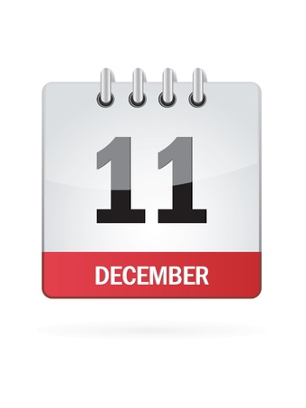 eleventh: Eleventh In December Calendar Icon On White Background Illustration