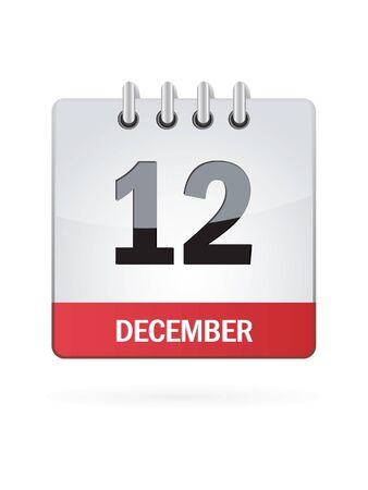 december calendar: Twelft Nel mese di dicembre Calendario Icona su sfondo bianco