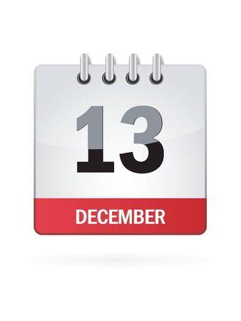 calendario diciembre: Decimotercera En diciembre Calendar Icon En El Fondo Blanco Vectores