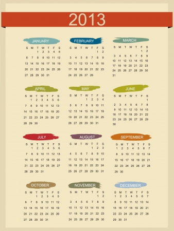 Retro Calendar For Year 2013 Stock Vector - 15381751