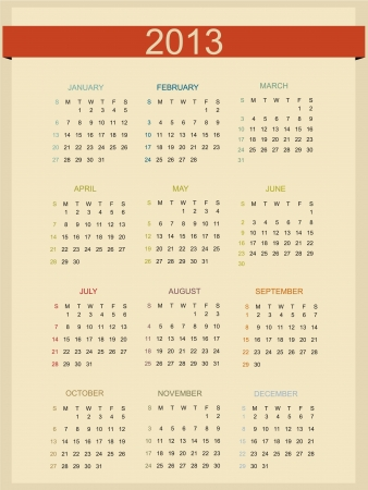 Retro Calendar For Year 2013 Stock Vector - 15381755