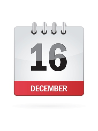 december calendar: Sedicesima Nel mese di dicembre Calendario Icona su sfondo bianco Vettoriali