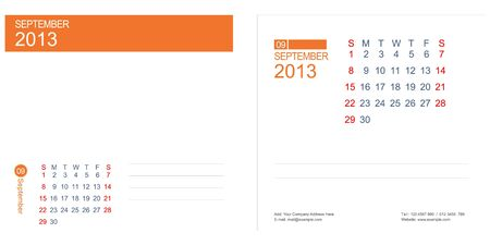 Planner September  2013 Calendar Stock Vector - 15528425
