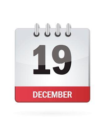 calendario diciembre: Decimonovena En diciembre Calendar Icon En El Fondo Blanco