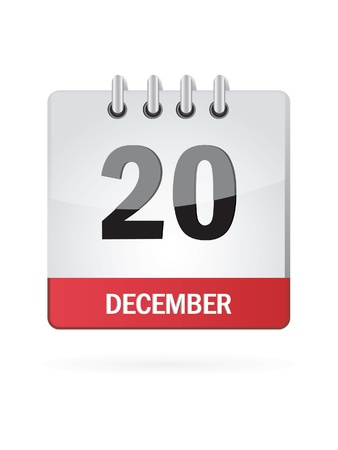 Twenty In December Calendar Icon On White Background