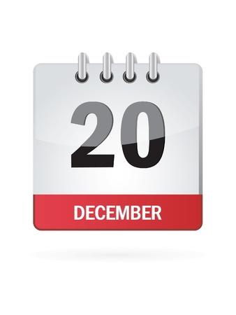 december calendar: Venti Nel mese di dicembre Calendario Icona su sfondo bianco Vettoriali