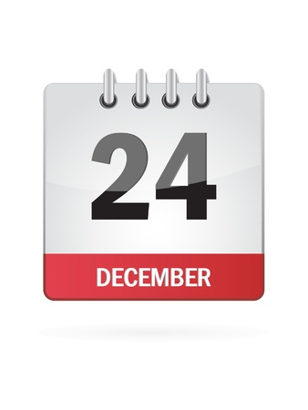months of the year: Twenty-Fourth In December Calendar Icon On White Background Illustration
