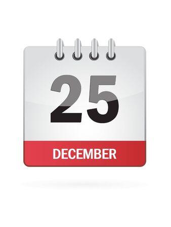 december calendar: Venticinquesima Nel mese di dicembre Calendario Icona su sfondo bianco