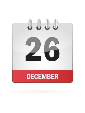 date: Twenty-Sixth In December Calendar Icon On White Background