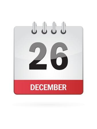 calendario diciembre: Vigésimo Sexto En diciembre Calendar Icon En El Fondo Blanco