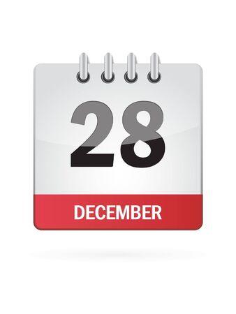 Twenty-Eighth In December Calendar Icon On White Background Stock Vector - 15449414