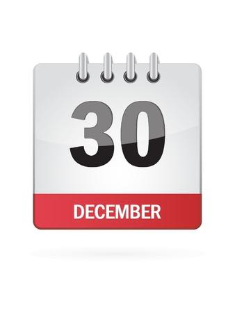 Thirtieth In December Calendar Icon On White Background Illusztráció