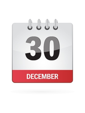Thirtieth In December Calendar Icon On White Background Illustration