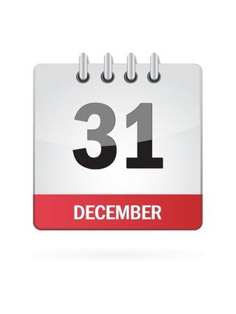 Thirtieth-One In December Calendar Icon On White Background