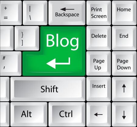 Computer Keyboard with Blog Key