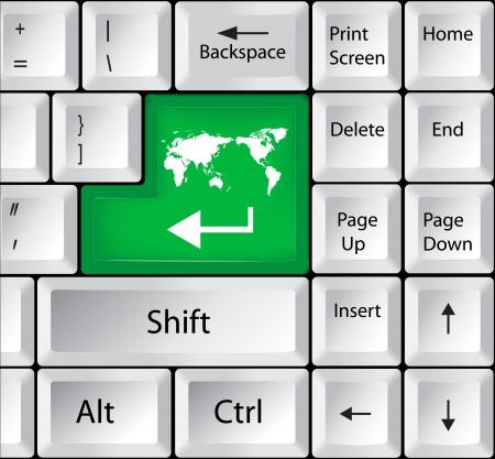 worldmap: Computer Keyboard with Worldmap Key