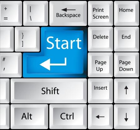 computer service: Computer-Tastatur mit Start-Taste