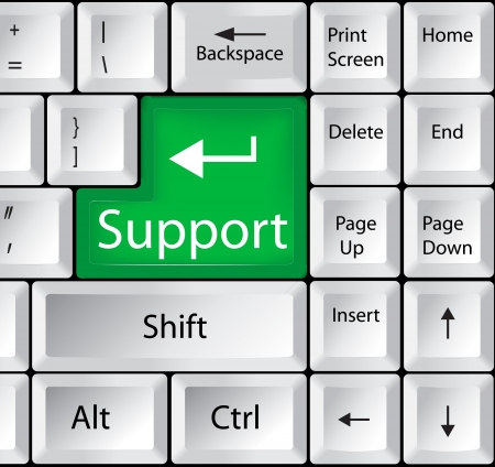 computer support: Computer Keyboard with Support Key