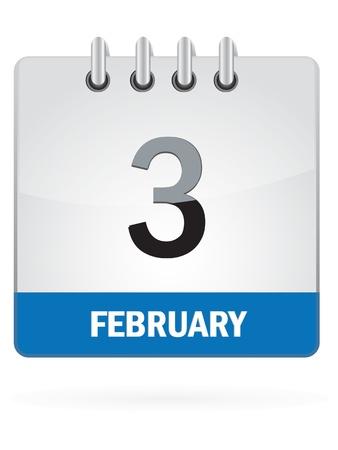 meses del año: Tercero En febrero Calendar Icon En El Fondo Blanco