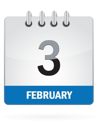 months of the year: Third In February Calendar Icon On White Background