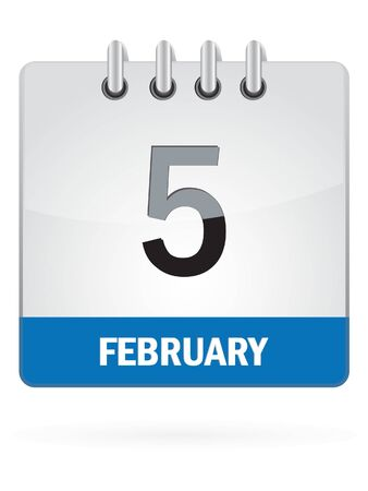 schedulers: Fifth In February Calendar Icon On White Background Illustration