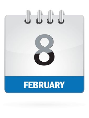 eighth: Eighth In February Calendar Icon On White Background Illustration