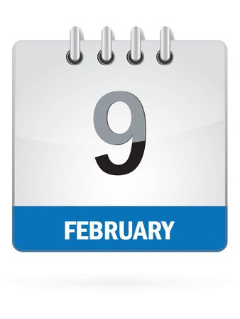ninth: Ninth In February Calendar Icon On White Background