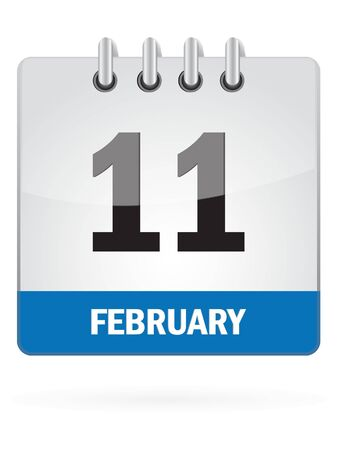 eleventh: Eleventh in February Calendar Icon on White Background