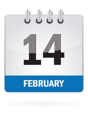 fourteenth: Fourteenth In February Calendar Icon On White Background