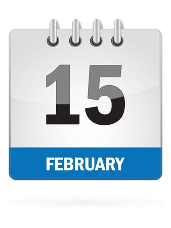 event organizer: Fifteenth In February Calendar Icon On White Background