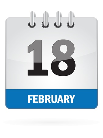 Eighteenth In February Calendar Icon On White Background Vector