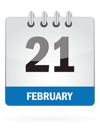 Twenty-One In February Calendar Icon On White Background Illustration