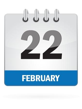Vigésima segunda en febrero de Calendario Icono En El Fondo Blanco
