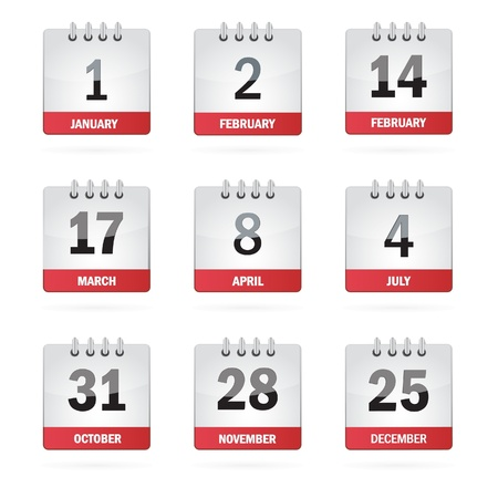 calendario: Establecer iconos del calendario de vacaciones Vectores
