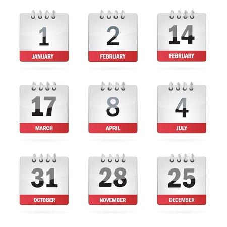 månader: Ställ Semester Kalender Ikoner