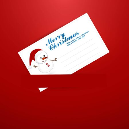 merrytime: Christmas Greeting Card with Snowman and Label for Message Illustration