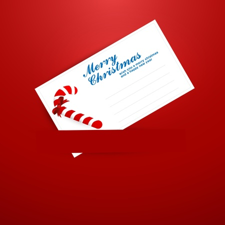 merrytime: Christmas Greeting Card with Candy and Label for Message Illustration