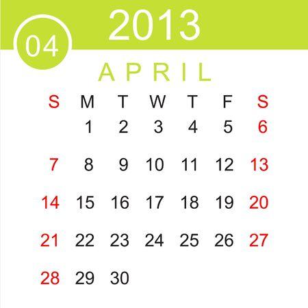 April 2013 Calendar Stock Vector - 15883485